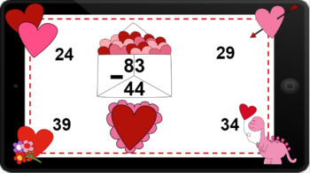 Google Classroom: Interactive 2 Digit Subtraction (Regrouping)- Valentines