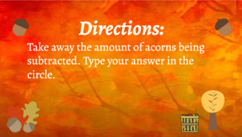 Google Classroom Interactive Acorn Subtraction Activity- Fall Theme
