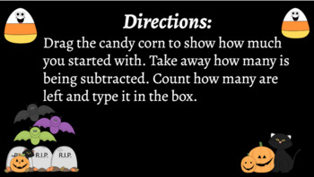 Google Classroom Interactive Candy Corn Subtraction Activity- Fall Theme
