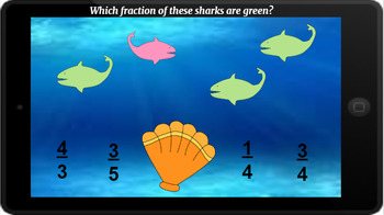 Google Classroom: Interactive Fractions of Sets- Shark Theme