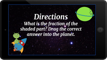 Google Classroom: Interactive Identifying Fractions Activity- Space Theme