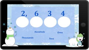 Google Classroom: Interactive Place Value 4 Digit Activity (Winter)