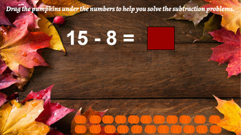 Google Classroom Interactive Pumpkin Subtraction Activity- Fall Theme