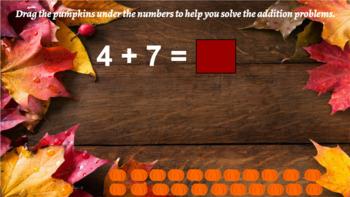 Google Classroom Interactive Pumpkin Addition Activity- Fall Theme
