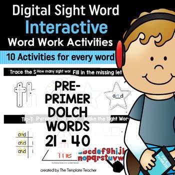 Google Classroom Interactive Sight Word Activities Pre-primer 21 - 40