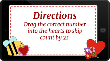 Google Classroom: Interactive Skip Counting by 2s (2 Digit)- Valentine