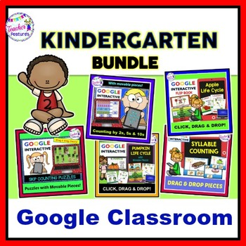 Google Classroom Kindergarten Math & Literacy Paperless Bundle