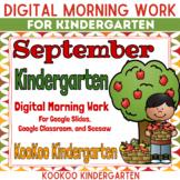 Google Classroom Kindergarten September Morning Work