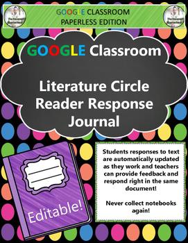 Google Classroom Literature Circle Reader Response Journal