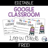 Google Classroom Log-In Cards | FREEBIE