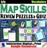 Google Classroom | Map Skills Vocab Review Puzzle & Test |
