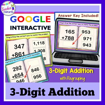 3-Digit Addition Paperless Digital Task Cards for Google Classroom Math