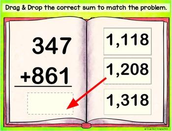 3-Digit Addition Paperless Digital Task Cards for Google Classroom Math