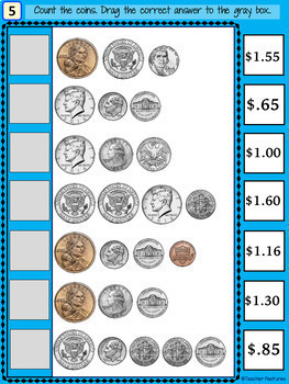 Google Classroom Math Counting Coins & Bills Digital Task Cards
