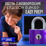 Google Classroom Math Digital Escape Room Fractions 4th Grade BUNDLE 4.NF