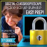 Google Classroom Math Digital Escape Room Place Value 4th Grade BUNDLE 4.NBT