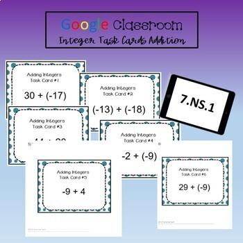 Google Classroom Math Task Cards - Integer Addition 7.NS.1 Self-Grading