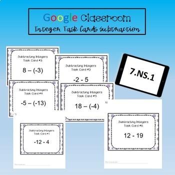 Google Classroom Math Task Cards - Integer Subtraction 7.NS.1 Self-Grading