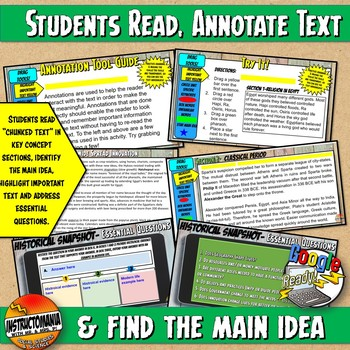 Google Classroom Maya Historical Snapshot Interactive Reading Activities & Quiz