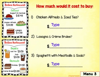 Adding Money Restaurant Menu Paperless Digital Task Cards for Google Classroom