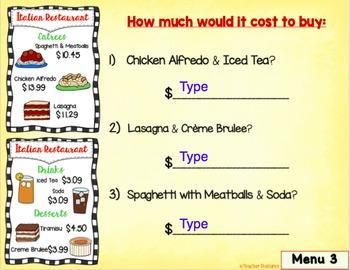 Google Classroom Activities ADDING MONEY RESTAURANT MENU Math Center