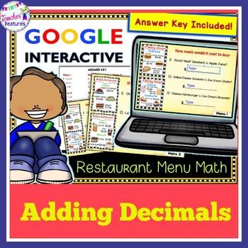 Google Classroom Math Adding Money (Restaurant Menu)