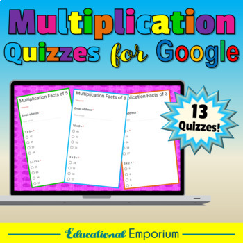 Google Classroom Multiplication Facts Tests 0-12: Times-Tables Quiz Bundle|Exact