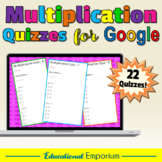 Google Classroom Multiplication Quizzes 0-12: Times-Tables Test Bundle|Mixed - A