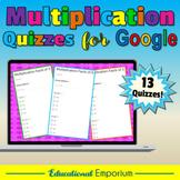 Google Classroom Multiplication Tests 0-12: Times-Tables Quiz Bundle|Exact - B