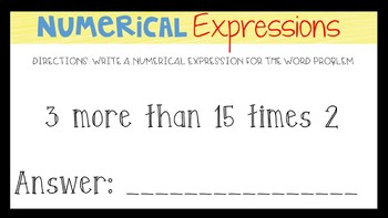 Google Classroom: Numerical Expressions Task Cards