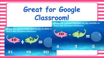 Google Classroom- Ocean Theme Adding and Subtracting Bundle