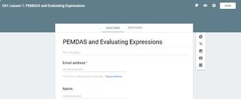 Google Classroom - Order of Operations and Evaluating Expression