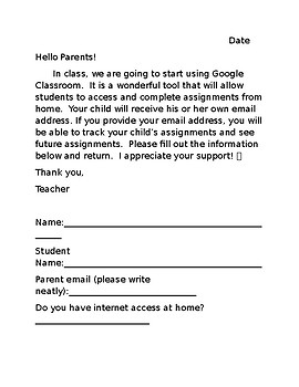 Google Classroom Parent Letter by Christy Johnson | TpT