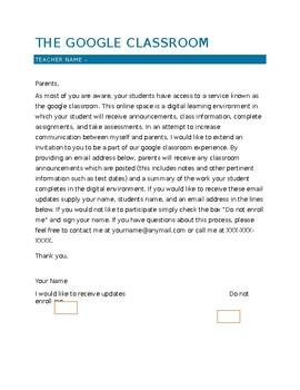 Google Classroom Parent Letter