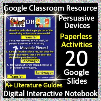 Persuasive Devices Interactive Notebook Google Classroom Paperless Activities