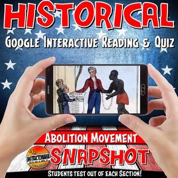 Google Classroom Pre-Civil War Sectionalism Snapshot Interactive Reading & Quiz