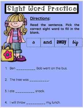 FREE! Google Classroom- Pre Primer Sight Word Practice