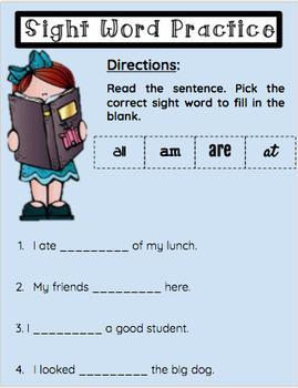 Google Classroom- Primer Sight Word Practice