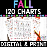 Google Classroom & Printable Fall 120 Charts with Missing Numbers Differentiated