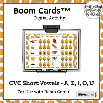 Google Classroom - Pumpkin Missing Sounds - CVC Short Vowels - A, E, I, O, U