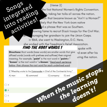 Google Classroom Reading Passages and Activities Mega Bundle Using Rap Songs