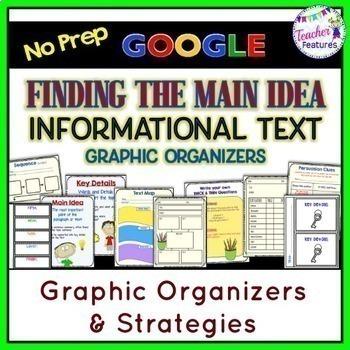 GOOGLE CLASSROOM READING Main Idea Graphic Organizers & Strategies