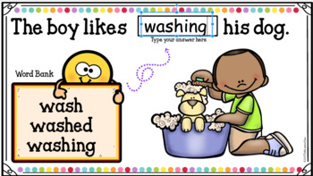 Google Classroom Reading Words with Inflected Endings
