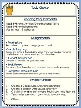 Google Classroom Writing | RESEARCH PROJECT TEMPLATE | FOR ANY TOPIC