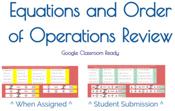 Google Classroom Review of Equations and Order of Operations