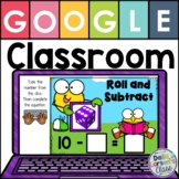 Google Classroom Roll The Dice Subtraction - With EASEL