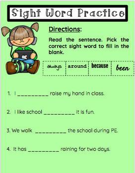 Google Classroom- Second Grade Sight Word Practice
