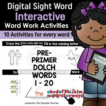 Google Classroom Interactive Sight Word Activities Pre-primer 1 - 20