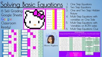 Google Classroom: Solving One-Step, Two-Step and Multi-Step Equations Bundle