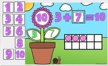 Google Classroom Spring Number Bonds with Ten Frames